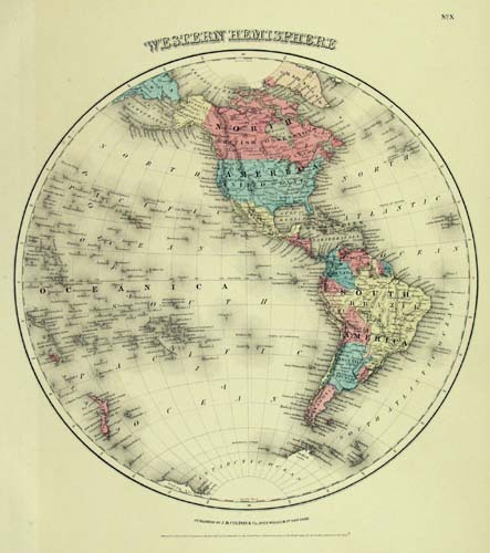 "Western Hemisphere.  J. H. Colton. Published by J. H. Colton and Company, New York. Engraving handcolored, 1855-56.  A decorative and well engraved map from ""Colton's General Atlas."" With original color."