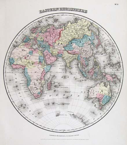 "Eastern Hemisphere. J. H. Colton.  Published by J. H. Colton and Company, New York. Engraving handcolored, 1855-56. A decorative and well engraved map from ""Colton's General Atlas."""