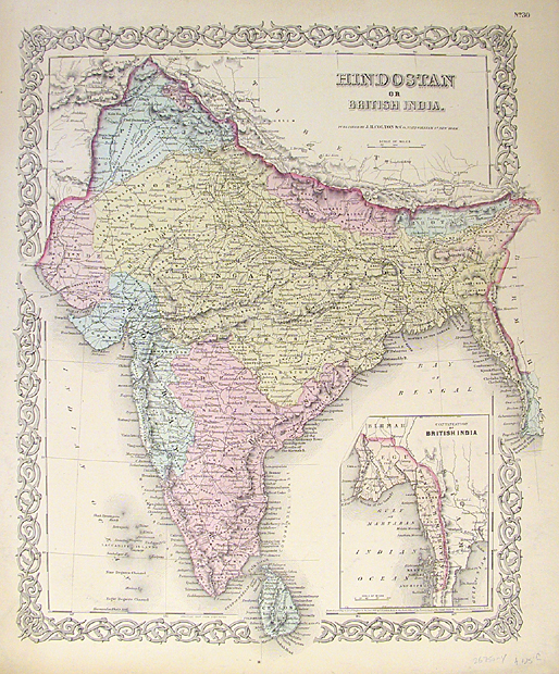 "Hindostan or British India.   Published by J. H. Colton and Company, New York. Engraving handcolored, 1855-56. A decorative and well engraved map from ""Colton's Atlas of the World."