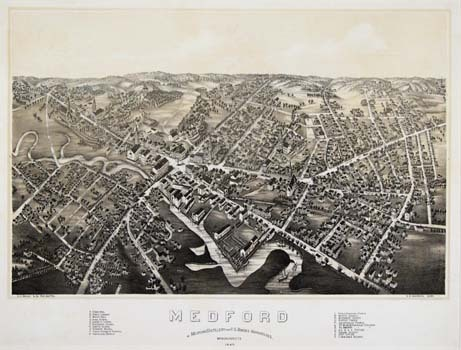 Medford.  W. Medford Distillery and U.S. Bonded Warehouses.  Massachusetts. By O. H. Bailey. Published by O. H. Bailey & Co., Boston.  Two-color lithograph, 1880. 22 locations identified in the title key of this striking bird's eye view.