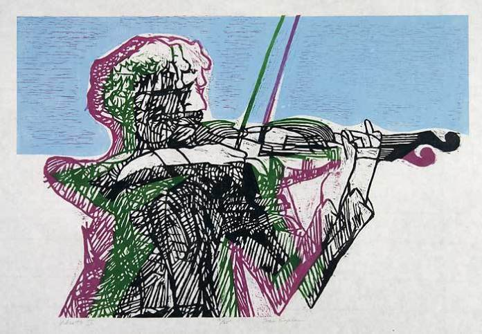 Vibrato II. By Stanley Kaplan. Color linocut, 2006.