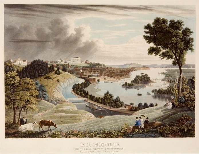 "Richmond, : from the Hill above the Waterworks. George Cooke. Published by Lewis P. Clover, 180 Fulton St. N.Y.  Aquatint engraving, c.1833. Engraved by W. J. Bennett from a painting by G. Cooke. One of the rarest and most beautiful of Bennett's aquatints. Gloria Deak describes the print as  ""George Cooke's romantic celebration of Richmond's charms. . . His composition describes the winding path of the Kanawha Canal, embracing in its arc the waters of the James River, where closely clustered buildings rising from its banks define the human community. Grazing cows lend a pastoral touch, and elegant residents, sketched at their leisure on the wooded heights, are placed by the artist in the amphitheater like setting. . . .""  Shown prominently is the Virginia State Capitol building which was designed by Thomas Jefferson. To the right is the Governor's mansion. To the left is City Hall (torn down in 1870) and the State Penitentiary which was designed by Benjamin Latrobe."
