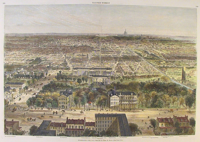 "Washington City, D.C. By Theodore R. Davis. Published in Harper's Weekly, New York. Wood engraving; hand colored, Mar. 13, 1869. Image size 13 3/4 x 20 3/8"" (349 x 512 mm). With modern handcoloring."