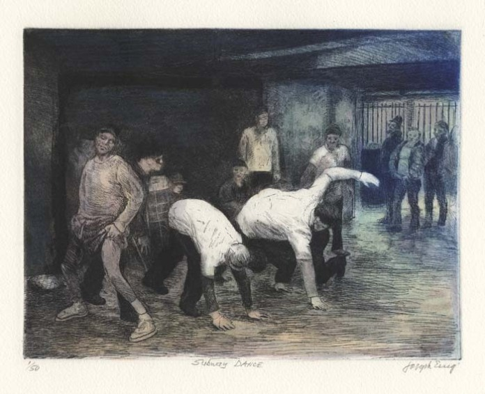 Subway Dance. By Joseph Essig. Etching printed in color, finished by hand, 2007.