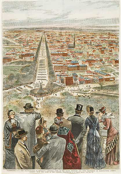 "Washington, D.C. - The Inuguration of President Garfield. - View on the Grand Military and Civic Procession on Pennsylvania Avenue, Looking from the Dome of the Capitol. Published by Frank Leslie's Illustrated Newspaper, March 19, 1881. Wood engraving handcolored, 1881. Image size 20 1/8 x 14 1/16"" (512 x 353 mm). An interesting perspective, with modern handcoloring."