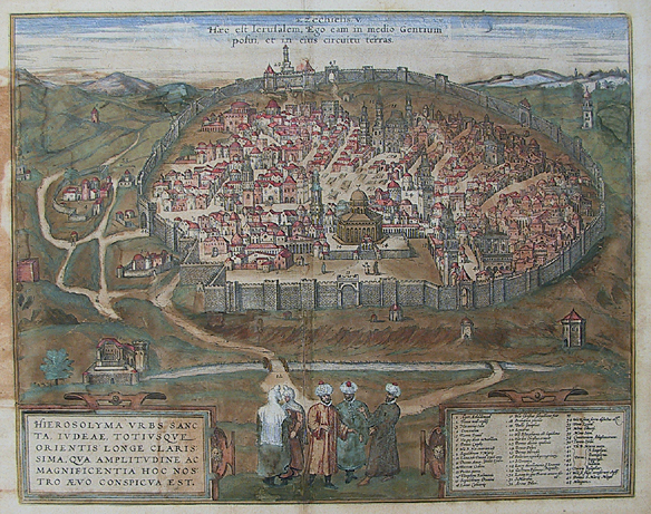 "Hierosolyma Urbs Sancta. Judaeae, Totiusque Orientis Longe Clarissima, Qua Amplitudine ac Magnificentia Hoc Nostro Aevo Conspicua est. (Jerusalem.)  By Braun and Hogenberg. Copper plate engraving, c. 1572. A fine early view of the ancient walled city of Jerusalem. This view appeared in Braun & Hogenberg's ""Civitatus Orbis Theatrum,"" considered the most famous atlas of city views published in the 16th Century."