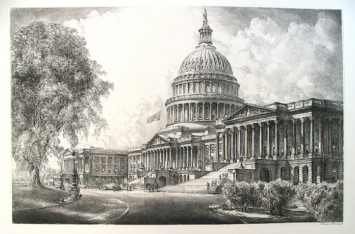 "United States Capitol. By Louis Orr. Etching, c. 1920. Image size 15 x 23"" (381 x 585 mm). A very detailed and handsomely executed view, typical of Orr's larger works. A flag flies over the entrance. Several cars are parked beside the Capitol steps. Signed in pencil."