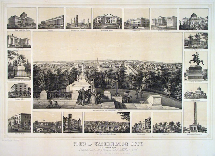 View of Washington City and Georgetown. Published and sold by Casimir Bohn, Washington D.C. Two-color lithograph, 1849. Lith. by E. Weber & Co. Baltimore. This scarce view shows the city from the portico of the Capitol building. Pennsylvania Avenue is shown in the center right. In In the distance is the Washington Monument in its original design. To the right of that is the Observatory; to the left is the Smithsonian Institution.  Surrounding the image is a series of twenty vignette illustrations of prominent buildings and monuments of the time. These include two views of the Capitol, the White house, Navy Yard, Georgetown College, Aqueduct near Georgetown, Post Office etc.