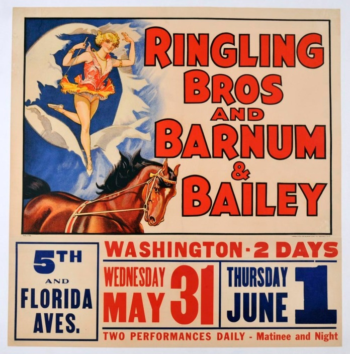 Ringling Bros and Barnum & Bailey. Published by Central PTG. and Illinois. Co., Chicago, U.S.A. Offset lithograph, c. 1938.