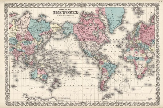 "Colton's Map of the World on Mercator's Projection. J. H. Colton. Published by J.H. Colton, 172 William St. New York. Engraving handcolored, 1855-56. A decorative and well engraved map of the world from ""Colton's General Atlas."" The tracts of various explorations are shown. These include Cook, Cancouver and La Perouse."
