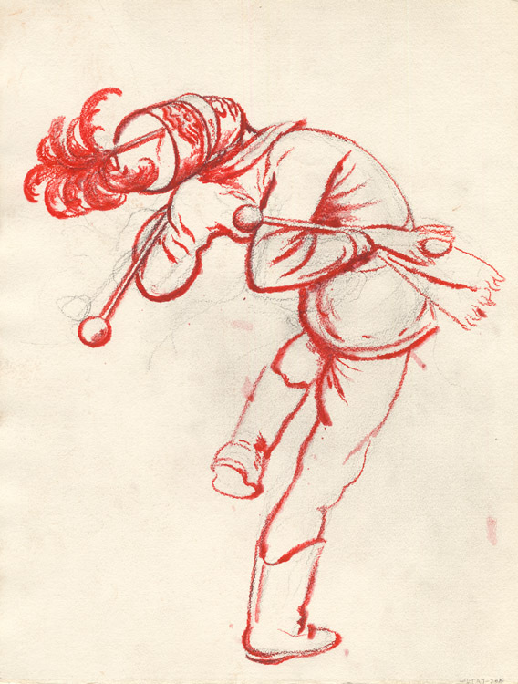 Untitled. [Drum Major]. By Robert Riggs. Charcoal & red crayon, c.1930.