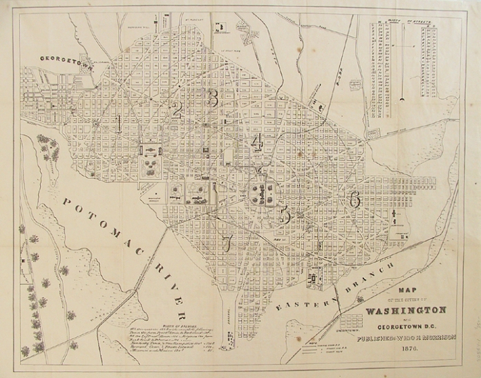"Map of the cities of Washington and Georgetown D.C. Published by W. H. & O. H. Morrison. Stone engraving, 1876. Image size, 15 7/8 x 20"" (405 x 517 mm) plus margins. A fine map of the original plan for the city of Washington, divided into wards. Various sites are highlighted on the map itself, including the President's House, Capitol, Washington Monument, Naval Observatory, Arsenal at Greenleaf's Point, Navy Yard, City Hall, Smithsonian Institute and Howard University.  This map appeared in the 1876 edition of ""Morrison's Stranger's Guide for Washington City."" Black & white."
