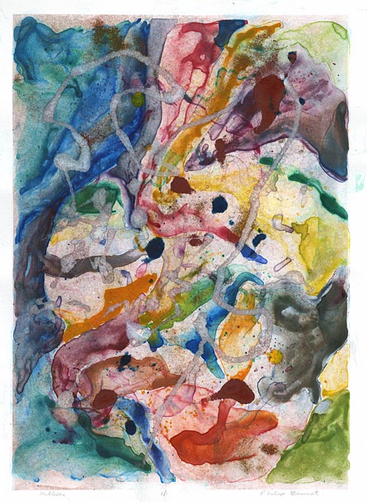 Ribbons. Philip Bennet. Watercolor & oil-based ink monotype, 2005.