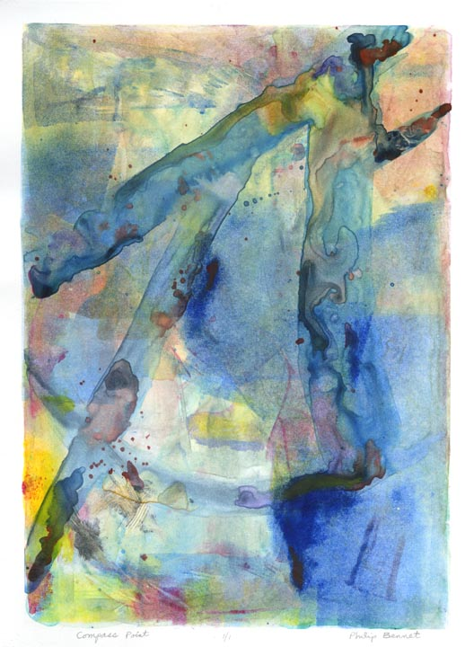 Compass Point. Philip Bennet. Monotype, watercolor and oil based ink, 2013.