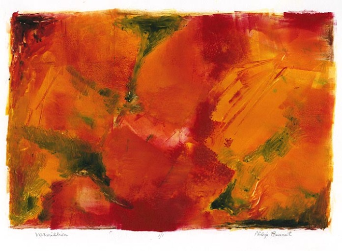 Vermillion. Philip Bennet. Monotype, oil based ink, 2012.