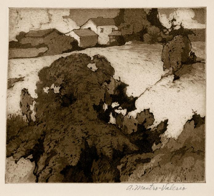 Landscape with Buildings.  (Summer Landscape). Alessandro Mastro-Valerio. Aquatint, 1934.