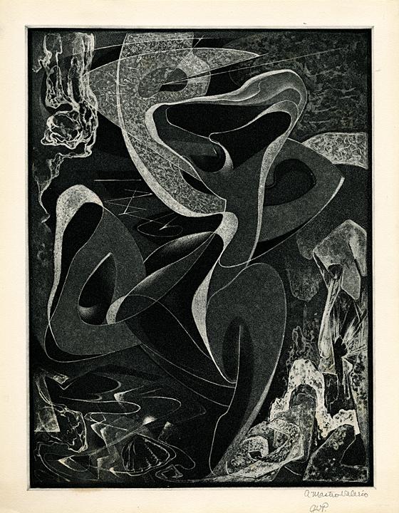Motif in a Seascape. (Three Nudes). Alessandro Mastro-Valerio. Aquatint, 1949.