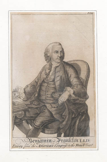 "Benjamin Franklin L.L.D. Envoy from the American Congress to the French Court. From ""An Impartial History of the War in America"", London. Copper plate engraving, 1780. LINK."
