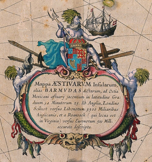 From: Mappa Aestivarum Insularum Alias Barmudas Dictarum... Willem J. Blaeu. Published by W. Blaeu, Amsterdam. Handcolored copper plate engraving, c.1633. The highly embellished cartouche features Neptune astride the royal coat of arms of England, trident in one hand and a galleon in the other. WEB LINK.