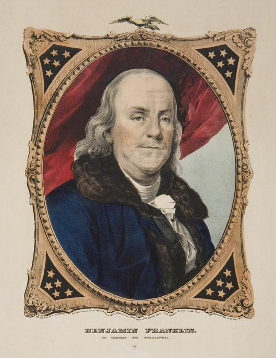 "Benjamin Franklin.   The Statesman and Philosopher. 152. Published by N. Currier, New York. Lithograph hand colored, 1847. No. 44 of the ""Best 50"" small-folio Currier and Ives lithographs. One of America's most important colonial figures, Franklin is depicted in white stock and full-trimmed coat. Around him is a decorative gilded frame surmounted with the American eagle. LINK."