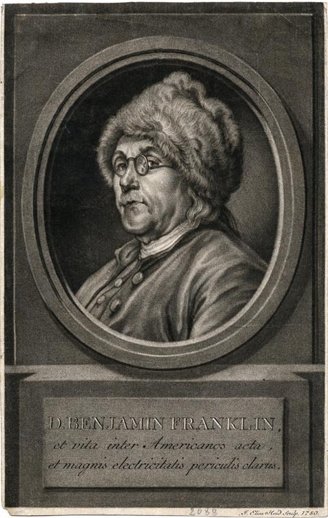 D. Benjamin Franklin, et vita inter Americanos acta, et magnis electricitatis periculis clarus. By Charles-Nicolas  Cochin.  Engraved by Johann Elias Haid. Mezzotint engraving, 1780.  A handsome and scarce portrait engraved by Haid (1739-1809). This mezzotint is the later of two oval portraits  engraved by Haid of Franklin. LINK.