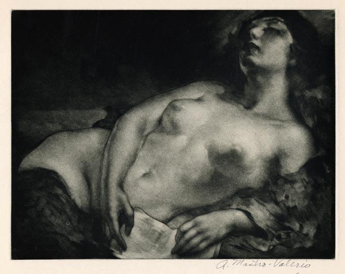 Repose. Alessandro Mastro-Valerio. Mezzotint, 1948.