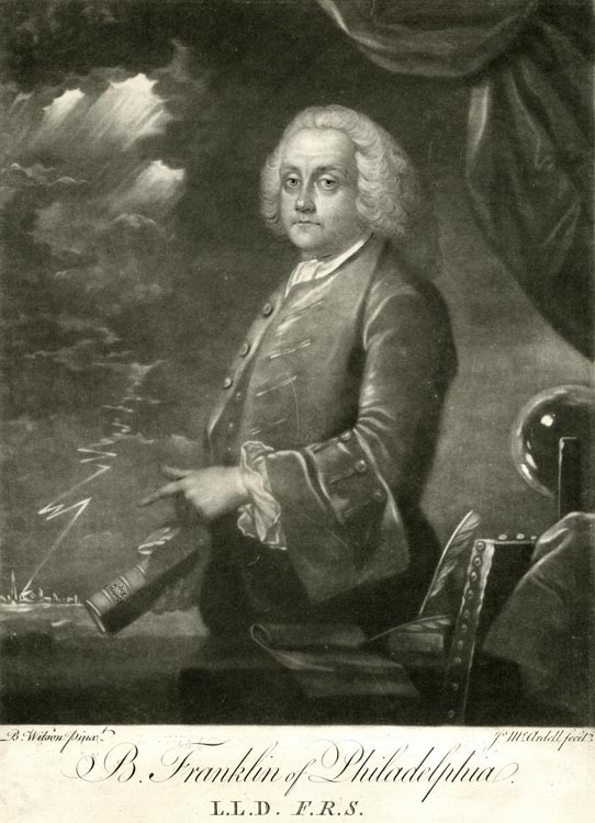 "B. Franklin of Philadelphia.  L.L.D. F.R.S. By Benjamin Wilson. Mezzotint engraving, 1761. Engraved by James McArdell (1728-1765). Second state of two. The painter, Wilson, was also an experimenter with electricity. He met Franklin soon after his arrival in London and received Franklin commissions to paint family members. Here Franklin is depicted with a book titled ""Electric Expts.""  A static-electricity machine (the glass globe on a table) appears at right. To the rear a boldtof lightning flashes dtrikes down toward a distant city."