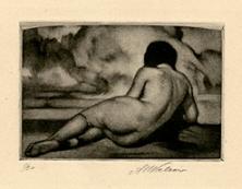 Reclining Nude (small). Alessandro Mastro-Valerio. Mezzotint, 1937.