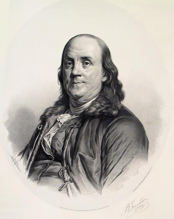 Benjamin Franklin. From a painting by Greuze, at the Boston Athanaeum formerly owned by Jefferson. By Joseph-Silfrede Duplessis. Lith & Published by S.W. Chandler & Bro. 204 Washington St. Boston. Lithograph, 1854. The original painting for this print was originally owned by Thomas Jefferson. After Jefferson's death, it was sold to the Boston Athenaeum. Jefferson's originally attributed the painting to the artist Jean-Baptiste Greuze. It was later re-attributed to Joseph-Silfrede Duplessis. LINK.