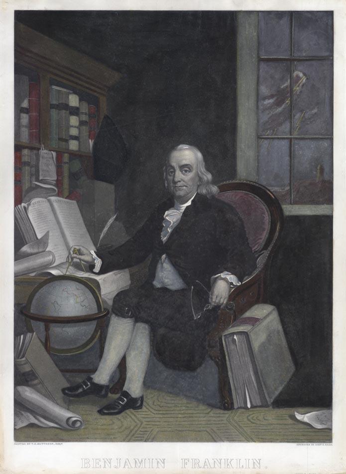Benjamin Franklin. Printed by J. Neale. Mezzotint, c. 1790. LINK.