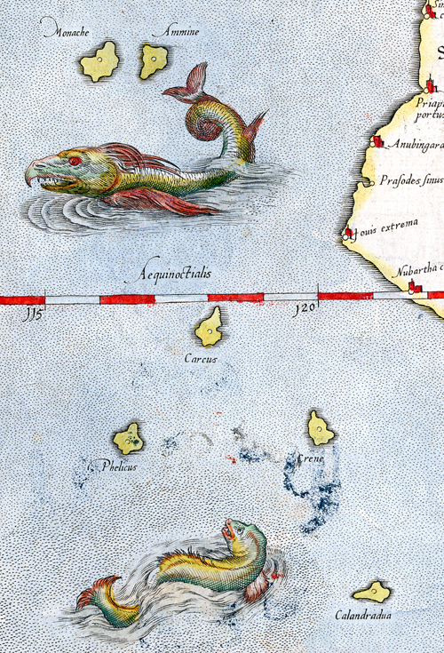 From: Asiae XII Tab. (Ceylon.) by Gerard Mercator. Copper plate engraving, 1578. WEB LINK.