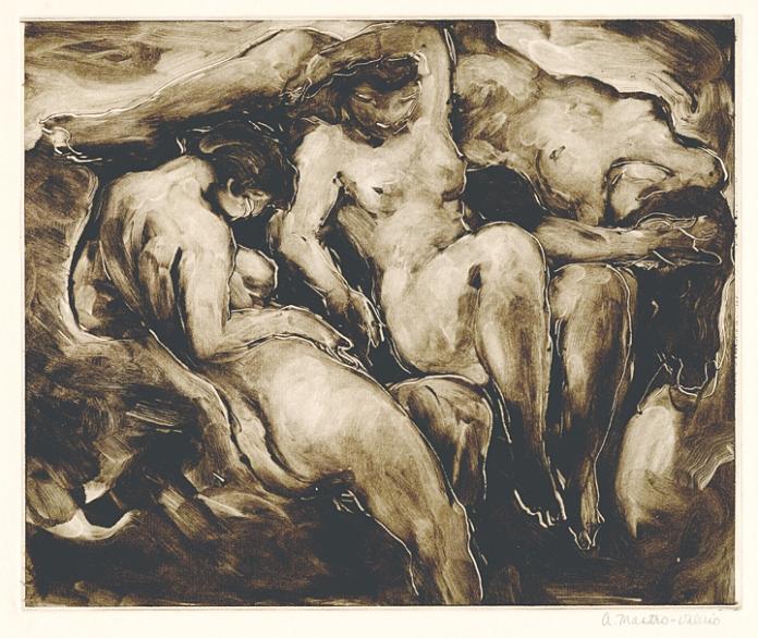 Three Nudes. Alessandro Mastro-Valerio. Monoprint, c.1936.