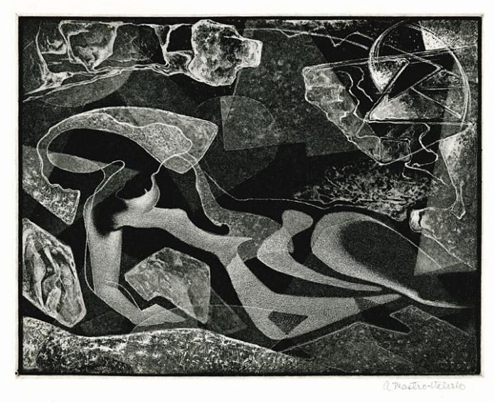 Reclining Figure. Alessandro Mastro-Valerio. Aquatint, 1950.
