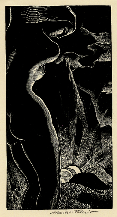 Dawn. Alessandro Mastro-Valerio. Wood engraving, 1946.