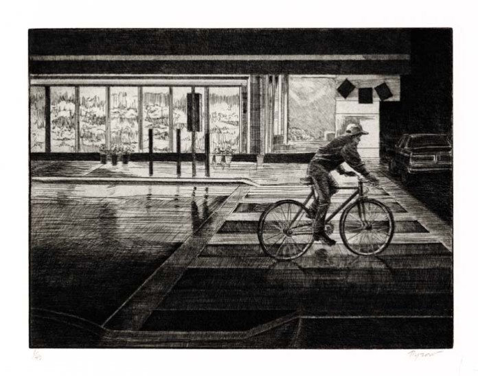 "Bicyclist. By Susan Pyzow.  Etching, 2002. Image size 9 x 11 7/8"" (225 x 300 mm). Edition 40. AT OPG."