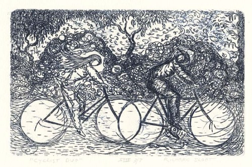 "Cyclist Duo. By Richard Sloat. Etching, 2003. Image size 6 x 9 1/2"" (152 x 240 mm). Edition 7. AT OPS."