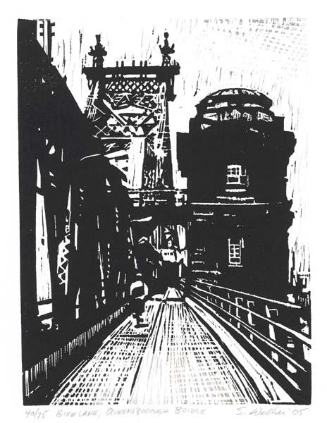 "Bike Lane, Queensborough Bridge. By Steven E. Walker. Woodcut, 2005. Image size 9 9/16 x 7 1/8"" (243 x 180 mm). Edition 75. AT OPG."
