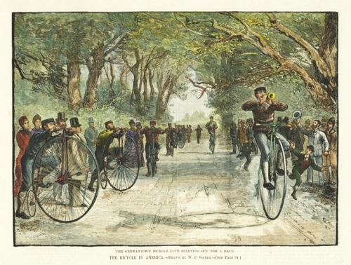 "Bicycle in America.  The Germantown Bicycle Club starting out for a Race. By W. P. Snyder. Published in Harper's Weekly. Wood engraving, with modern handcoloring, Feb. 7, 1880.  Image size 6 5/8 x 9 1/8"" (168 x 231 mm). AT OPG."