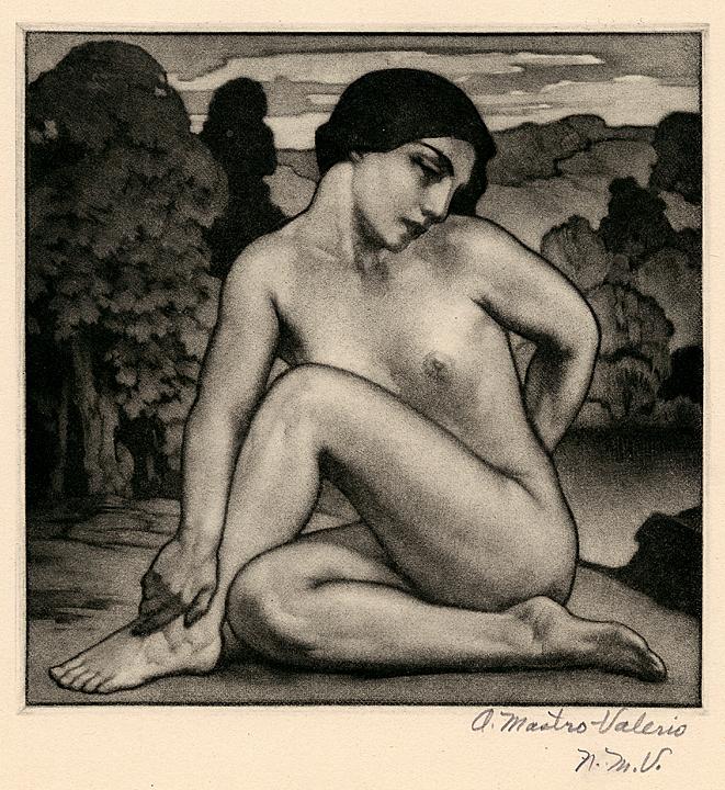 Reverie. Alessandro Mastro-Valerio. Mezzotint, 1942.