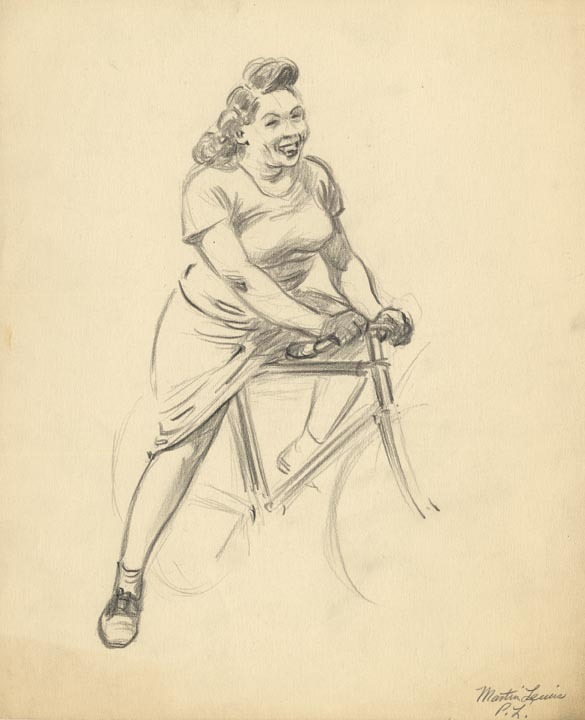 "Figure Study, Woman on Bicycle. By Martin Lewis. Pencil on paper, c.1935. Image size 7 x 3 1/8"" (178 x 80 mm). AT OPS."
