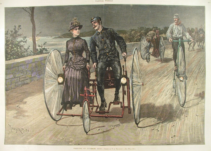 "Wheeling on Riverside Drive. BY T. de Thulstrup. Published by Harper's Weekly, New York. Wood engraving, July 17, 1886. Image size 13 3/4 x 19 7/8"" (343 x 556 mm.) AT OPG."