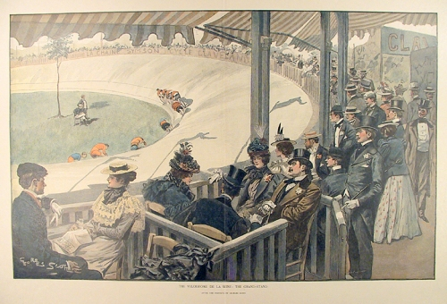 "The Velodrome de la Seine: The Grand-stand. By Georges Scott. Wood engraving, c.1880. Image size 12 1/4 x 19 5/8"" (310 x 499 mm.) AT OPG."