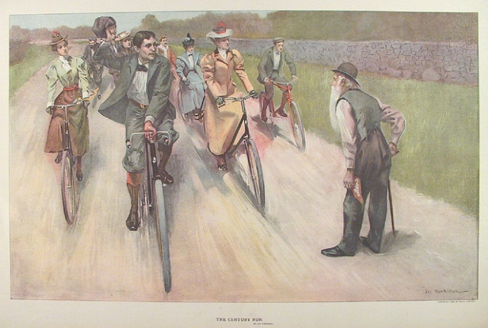 "The Century Run. By Jay Hambidge. Published by Truth Company. Color photoengraving, 1897. Image size 11 x 17 7/8"" (273 x 455 mm.). AT OPG."