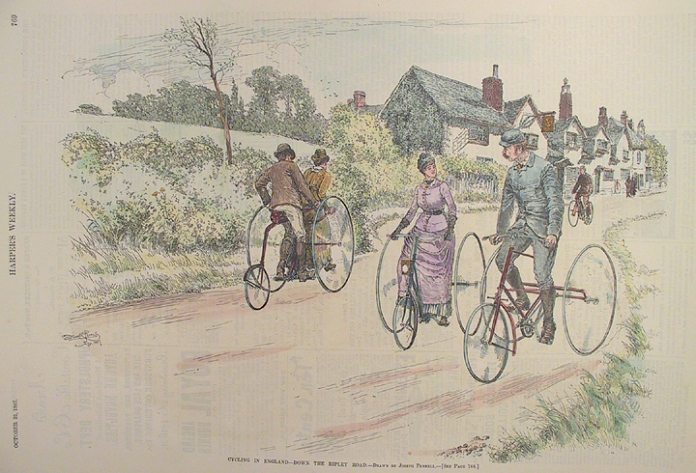 "Cycling in England - Down the Ripley Road. By Joseph Pennell. Published by Harper's Weekly, New York, Oct. 22, 1887. Wood engraving, hand colored, 1887. Image size  9 1/4 x 12 5/8"" (236 x 325 mm). AT OPG."