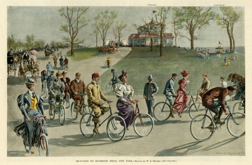 "Bicycling on Riverside Drive, New York. By W. A. Rogers. Published by Harper's Weekly, New York. Photoengraving, hand colored, c. 1895. Image size 8 1/2 x 13 1/4"" (214 x 339 mm). AT OPG."