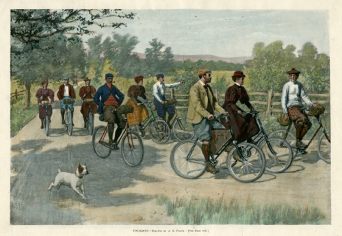 "Tourists. By A. B. Frost. Published by Harper's Weekly. Photoengraving, hand colored, 1896. Image size 8 1/2 x 12 1/2"" (215 x 317 mm). AT OPG."