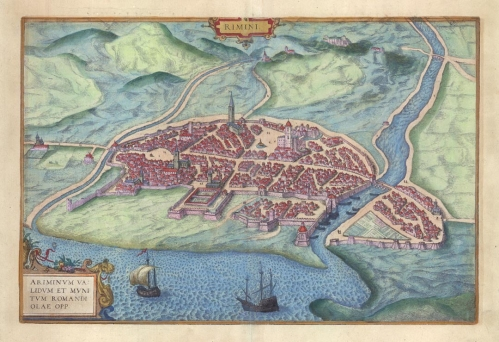 "Rimini. (Italy). By Braun and Hogenberg. Copper plate engraving, 1572-1618. A fine view of the city of Rimini from Braun & Hogenberg's ""Civitates Orbis Terrarum."" Rimini is located between the Rivers Marecchia and Ausa on the Adriatic Sea in the Emilia-Romagna region of Italy. Good condition. Period coloring. $600.00 LINK."