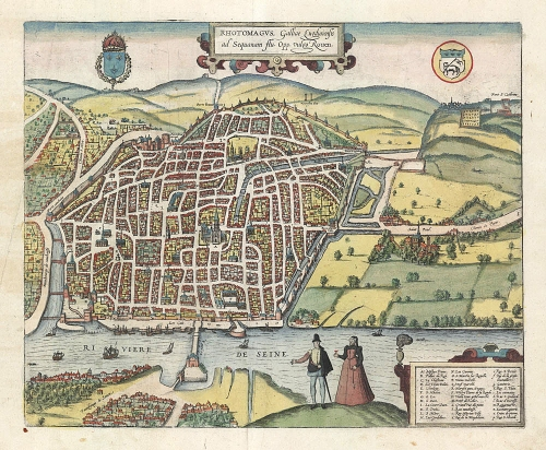 "Rhotomagus, Galliae Lugdunensis as Sequanam flu. Opp. vulgo Rouen. (France). By Braun and Hogenberg. Copper plate engraving, 1572-1618. A fine view of the town of Rouen, France, on the River Seine from Braun & Hogenberg's ""Civitates Orbis Terrarum."" Good condition. Period coloring. $495.00. LINK."