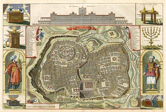Ierusalem. By Daniel Stoopendaal. Copper engraving, c. 1716. This bird's eye plan of old Jerusalem is based on Villapando's imaginary city plan; it was designed by Bastiaan Stoopendaal, then revised by Daniel Stoopendaal. It was included in a Dutch Bible. The plan has an extensive key identifying landmarks, which include the palaces of David and Herod, Solomon's Temple and various markets. At the top is an elevation of Solomon's Temple and along the sides are religious icons and figures of a high priest and Solomon. Good condition with modern color, save small break at lower centerfold. $750.00. LINK.
