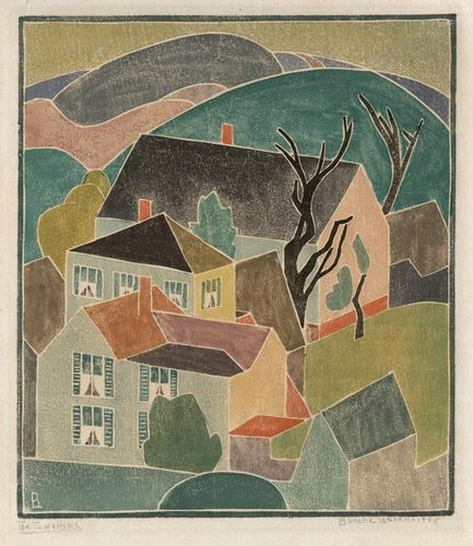The Town Home. By Blanche Lazzell. White-line woodcut, 1928.